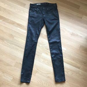 AG Leatherette Black Super Skinny Legging Jeans